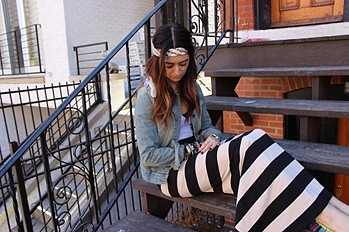 Rugby Stripe Column Skirt style pic
