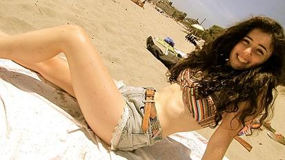 Lacey Denim Cutoff Shorts at the Beach