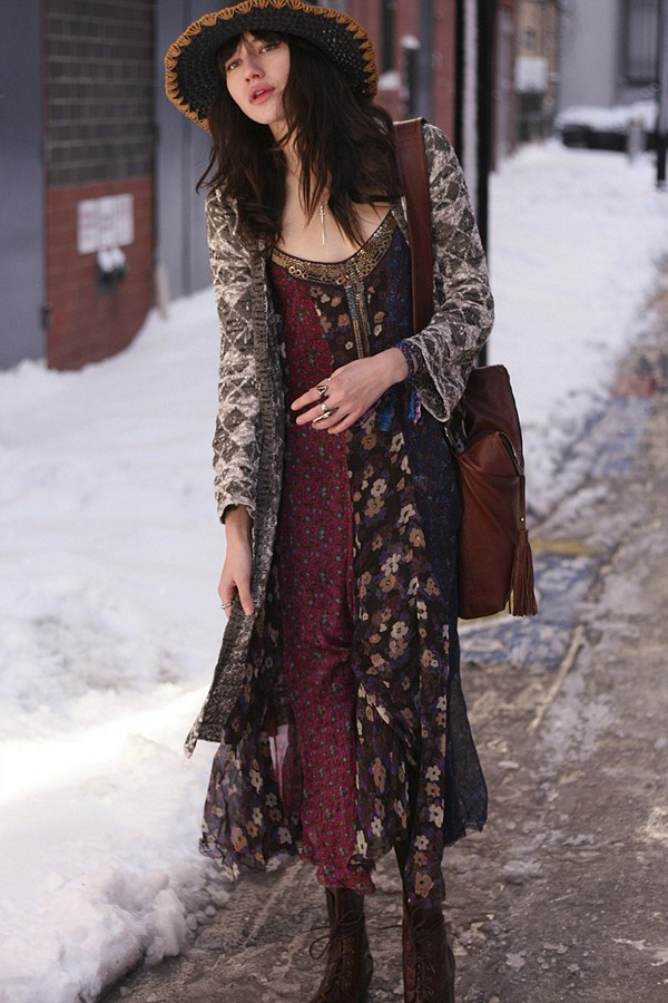 Midnight Stars Pieced Print Dress style pic