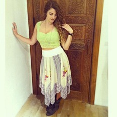 Printed Squared Off Slip Skirt style pic