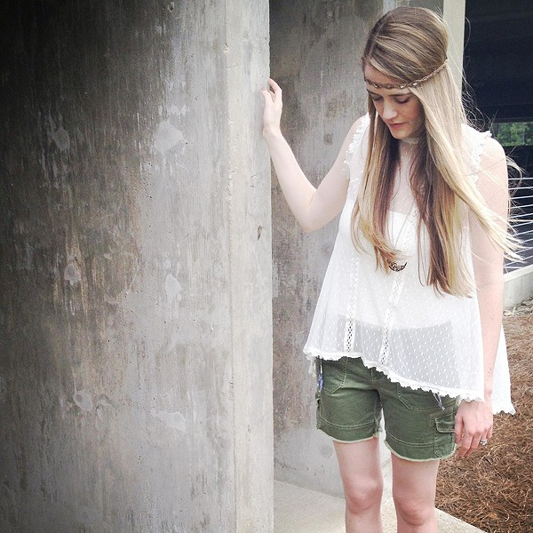 Fiona's lace top with cargo shorts