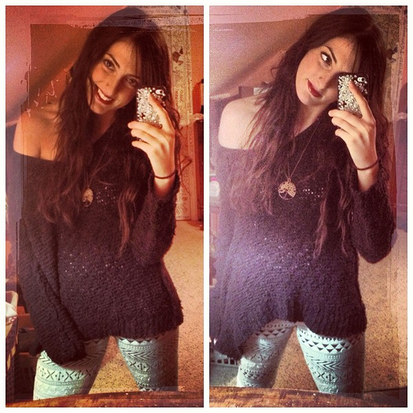 Shaggy Knit Pullover & last years FP Sweater Leggi