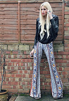 Border Print Bell Bottoms style pic