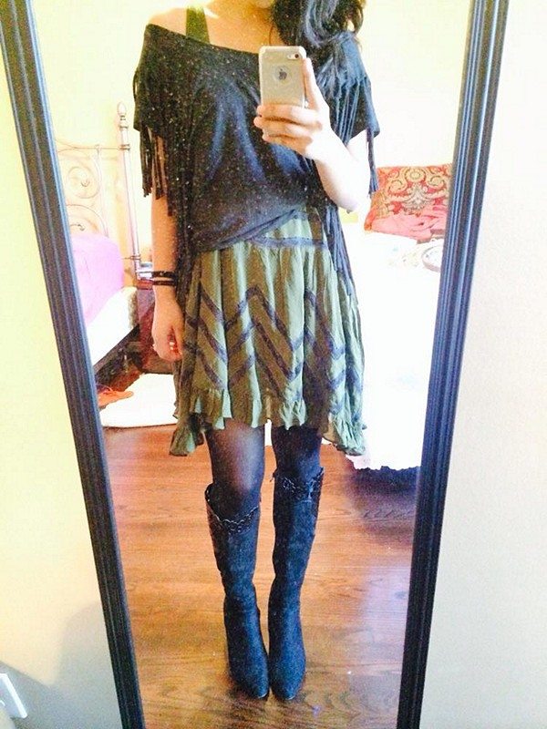 army colored trapeze & fantasy fringe tee