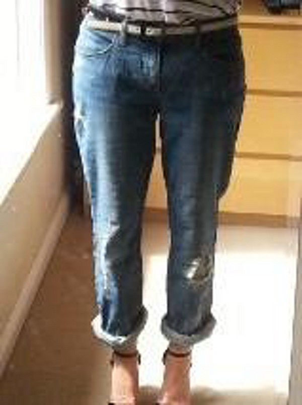 High Rise Patched Menswear Skinny style pic size 2